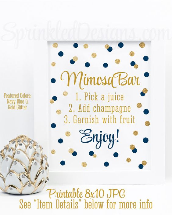 Mimosa Bar Party Sign - Navy Blue Gold Glitter Baby or Bridal Shower Decorations - Monograms and Mimosas - Birthday Printable 8x10 Sign by SprinkledDesigns.com