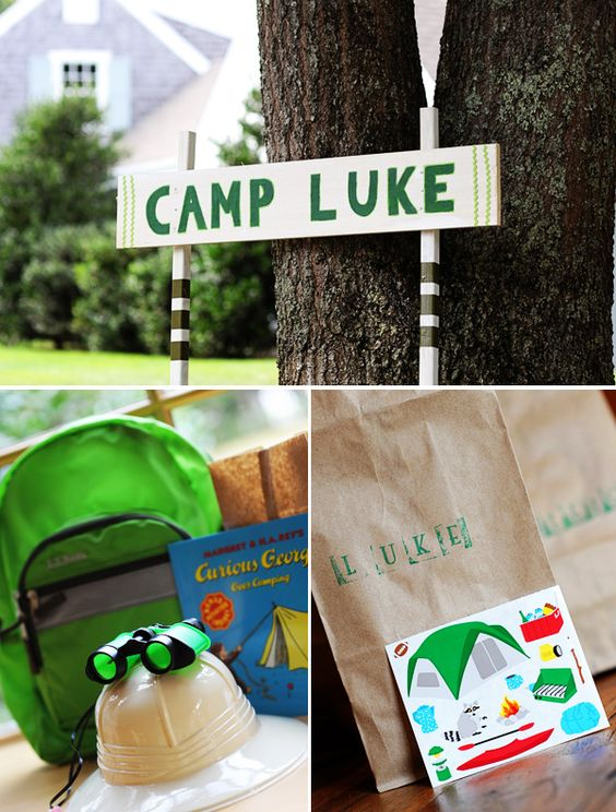 A Camping-Inspired Birthday Party Adventure: The colors were brown, dark green and light green.