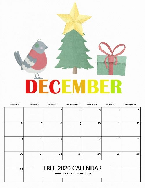 Free Printable December 2020 Calendar Christmas Your 2020 Calendar Printable is Here in Super Fun Theme