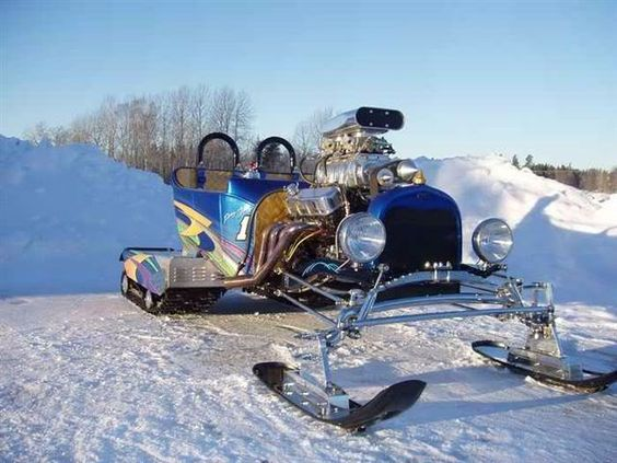 Blown big block Chevy T-bucket snowmobile.