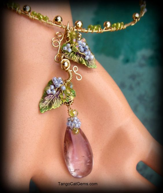 Amethyst+Teardrop+Vine+Necklace+by+TangoCatGems+on+Etsy,+$110.00