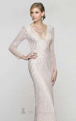 Plunging Full Sleeved Gown by Scala Couture 48312