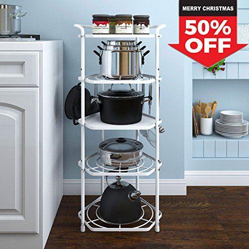 Lifewit Pan Pot Organizer Rack Cookware Stand With 6 Hooks 5 Tiers Kitchen Storage Rack Kitchen Hacks Organization Cookware Stand Corner Shelves