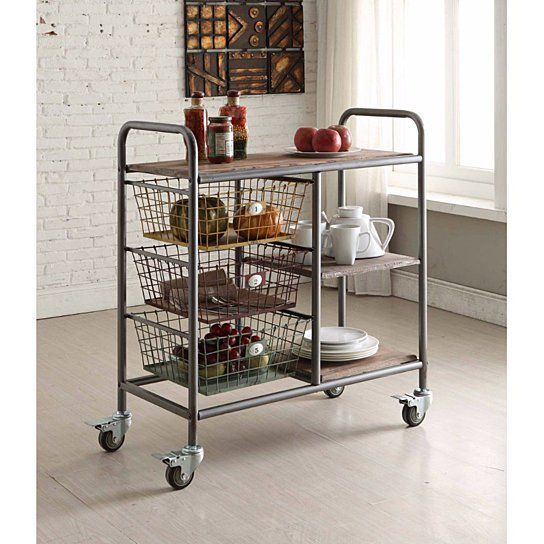 Pin On Dining Room Makeover Metal kitchen cart on wheels