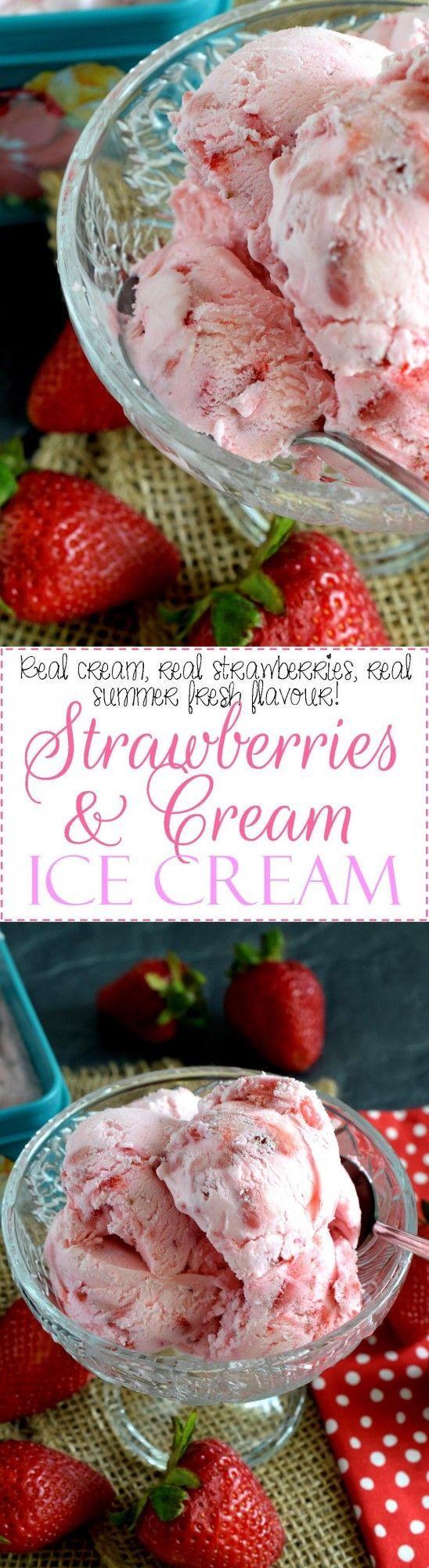 For The Intense And Dedicated Strawberry Enthusiast 8211 Strawberries And Cream No Ch Frozen Yogurt Recipes Homemade Strawberry Ice Cream Homemade Ice Cream