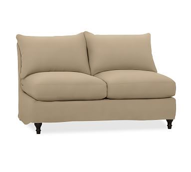 Carlisle Slipcovered Sectional Armless Love Seat, Polyester Wrapped Cushions, Twill Walnut