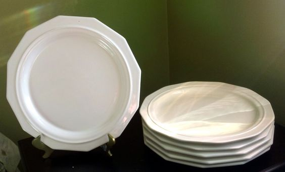 Ironstone Octagon Plates Cream w/Center Ring EUC #PotteryBarn