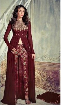 Maroon Color Georgette Achkan Style Salwar Kameez | FH485474725 #heenastyle , #boutique , #pakistani, #salwar , #kameez , #suit , #dresses , #styles , #fashion , #clothing , #henna , #designs , #mehndi , #more , @heenastyle