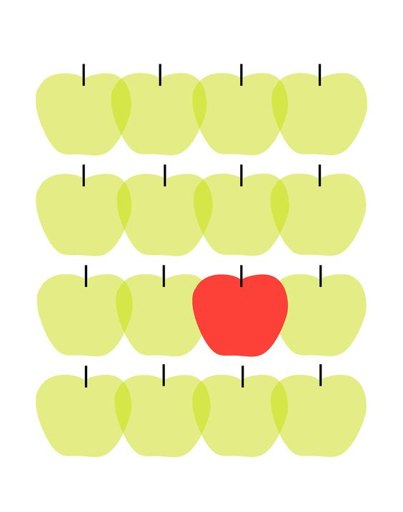 Customizable - Kids wall art Apple print - Lime green and red or you choose the colors - Personalized art print - modern wall art. $26.95, via Etsy.