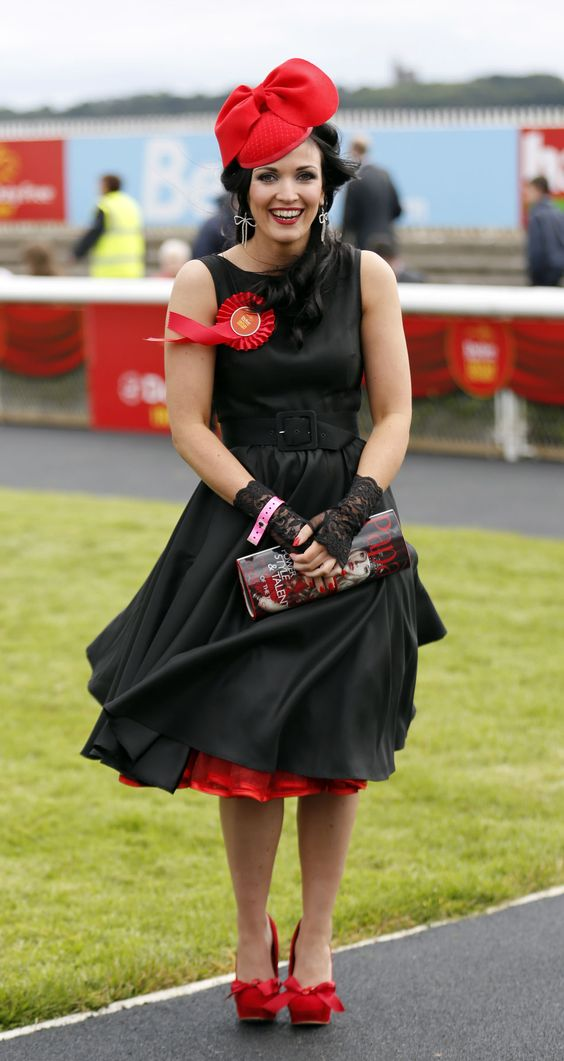 Red hat and black dress for a day out at the races- Irish Derby 30 ...