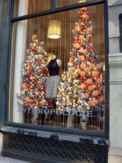 Christmas Tree window display: