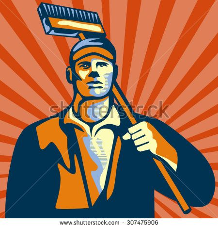 Illustration of a street cleaner worker holding a broom on shoulder viewed from front set inside square shape with sunburst in the background done in retro style. #janitor #retro #illustration