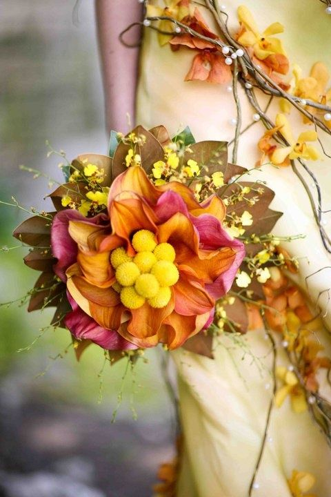 Gorgeous bridal bouquet design for the fall bride.: