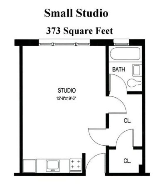 Small studio apartment floor plans floor plans from for One bedroom efficiency apartment plans