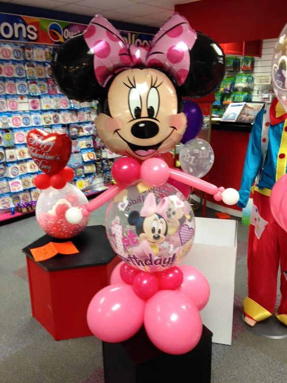 1st Birthday Minnie Mouse Balloon  #minniemouseballoon #balloondeco #1stBirthday #girl: