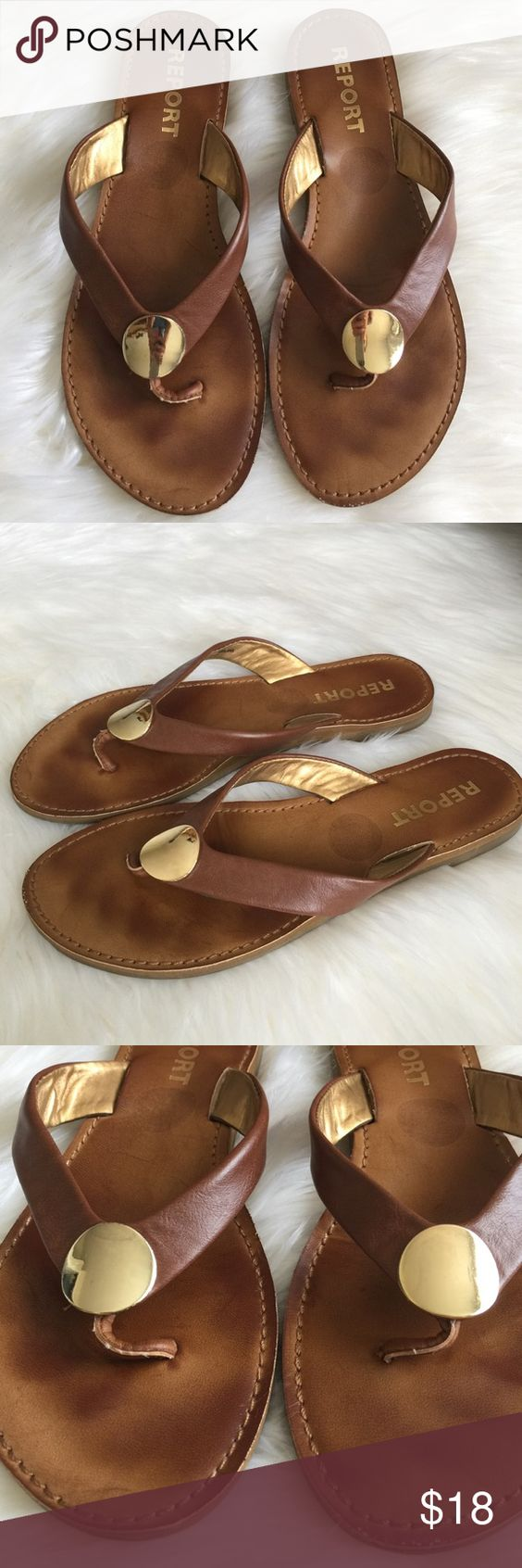 Beautiful Report Canel & Gold Leather Sandals Fabulous and very comfortable sandals!  I love the gold dot detail at the toe and the camel colored leather💕. Gently used, GREAT condition.  Only worn a couple of times. Report Shoes Sandals