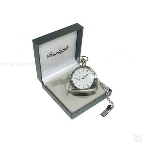 £29.95.Our stunning Engraved 'Burleigh' Silver Plated Pocket Watch makes a gift that will stand the test of time!It's a full hunter style watch featuring Roman Numerals, quartz movement and includes a chain with trouser clip.We can professionally engrave this watch on the front or back with ANY initials or Special Message.Ideal for a Wedding or Anniversary, this gift will become a treasured keepsake for many years to come.