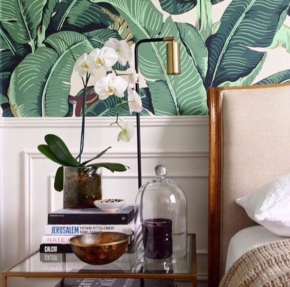 Bedroom Banana Leaf From Martinique Wallpaper Mid