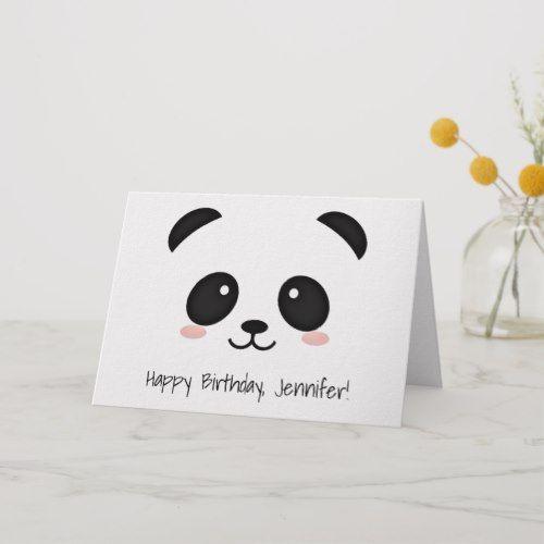 Cute Panda Face Kawaii Birthday Card Panda Birthday Cards Panda Card Birthday Card Drawing