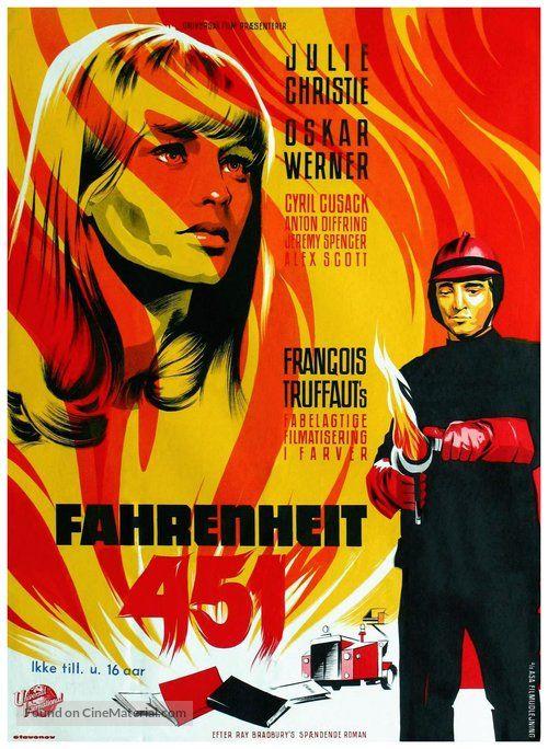 Fahrenheit 451 Bande Annonce Vf : fahrenheit, bande, annonce, Fahrenheit, (1966), Danish, Movie, Poster, Francois, Truffaut,, Affiche, Film,, Court, Metrage