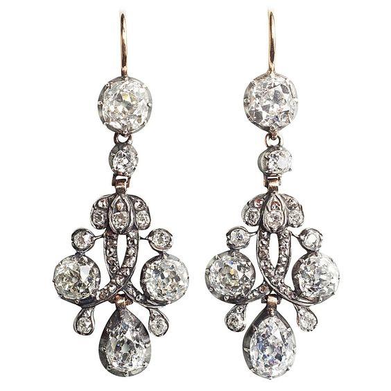 Important Antique Dutch Diamond  Earrings | From a unique collection of vintage chandelier earrings at https://www.1stdibs.com/jewelry/earrings/chandelier-earrings/