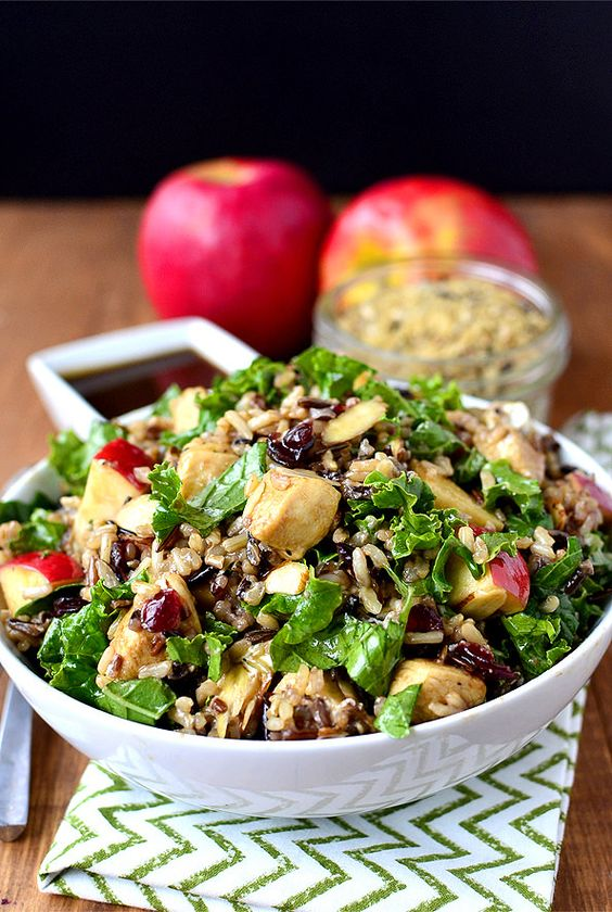 Kale and Wild Rice Bowls with Honey-Balsamic Vinaigrette combines wild rice and fresh kale with apples, dried cranberries, sliced almonds and chevre tossed with a sweet-tart Honey-Balsamic Vinaigrette. | iowagirleats.com: