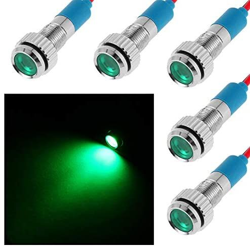 Ficbox 5pcs Led Indicator Light 6mm 12v Metal Waterproof Signal Lamp With Wire For Car Truck Boat Green In 2020 Indicator Lights Cars Trucks Led Indicator