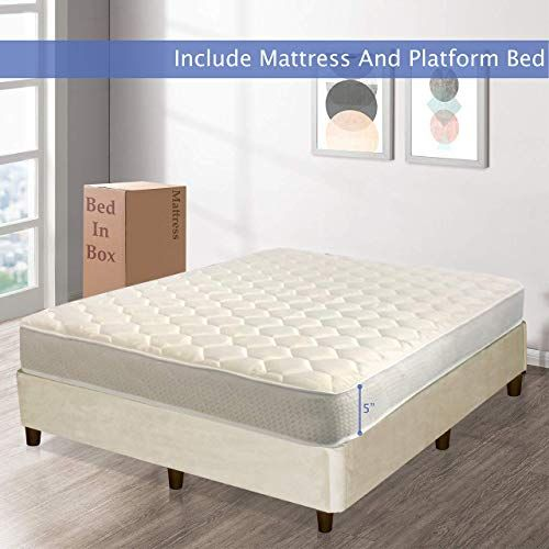 Buy Nutan Medium Firm 5 Inch High Density Poly Foam 8 Inch Platform Mattress Comes With Legs To Eliminate Need For Bed Frame California King Size Beige Online In 2020 Bed Frame Platform