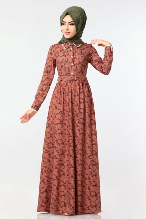 Modaselvim Elbise Dugme Detayli Kemerli Elbise 8987w153 Taba Elbiseler Elbise Tabata
