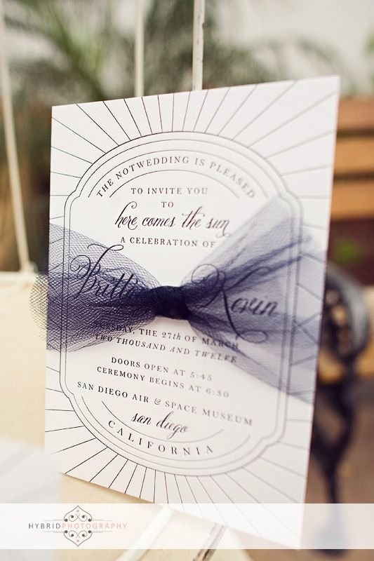 letterpress wedding invitations with tulle bow