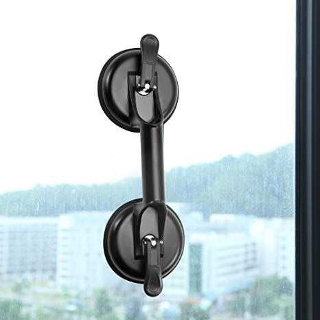 FCHO Glass Suction Cups Double Pads Heavy Duty Aluminum Handle Glass Holder Hooks to Lift Large Glass//Floor Gap Fixer//Moving Glass//Pad for Lifting//Dent Puller Black-01