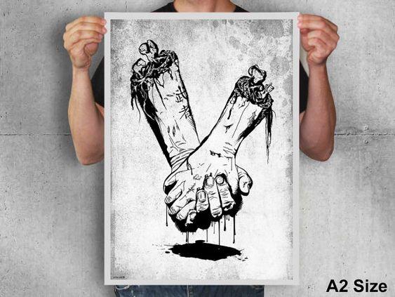 Zombie Hände, Schädel, Knochen, schwarz-weiß, gruselig, Horror, Blut, Goth, Kunst, poster