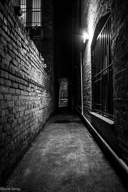 door at end of dark alleyway   Dark alleyway, Dark street, Anime background