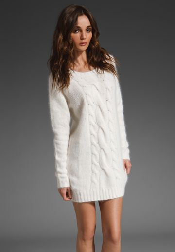 Off Shoulder Cable Knit Dress - Cable- Boots and Knits
