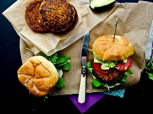 maple chipotle sweet potato burger with avocado