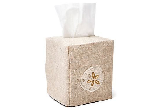 Sand Dollar Tissue Box Cover, Cream on OneKingsLane.com
