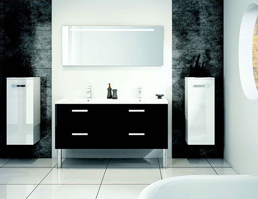 salle de bains lotus noir et blanc discac orialys. Black Bedroom Furniture Sets. Home Design Ideas