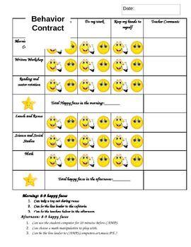 Behavior Contract Resource 5 Smiley Face Contract For Kindergarten 1st 2nd Grade Source
