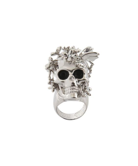 Alexander McQueen.Ring skull with flowers