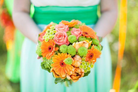 Green and orange bride's bouquet #wedding #flowers