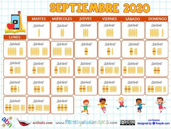 Calendario palillos infantil ABN – Septiembre 2020