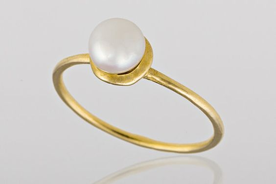 Pearl gold ring. Gold pearl ring. birthday gift by AtlanticSun