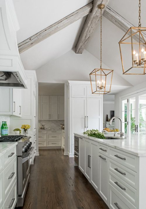 Cathedral Ceiling Adjacent To Room With 9 Ft Ceiling White Kitchen Design Home Decor Kitchen White Kitchen Interior