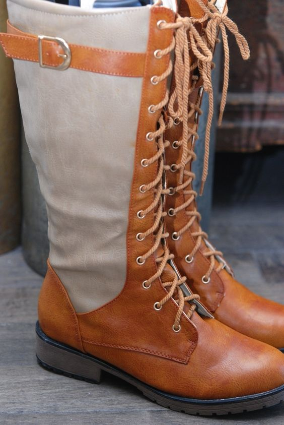 Image of Two-Tone Vegan Leather Boots - Tan/Camel