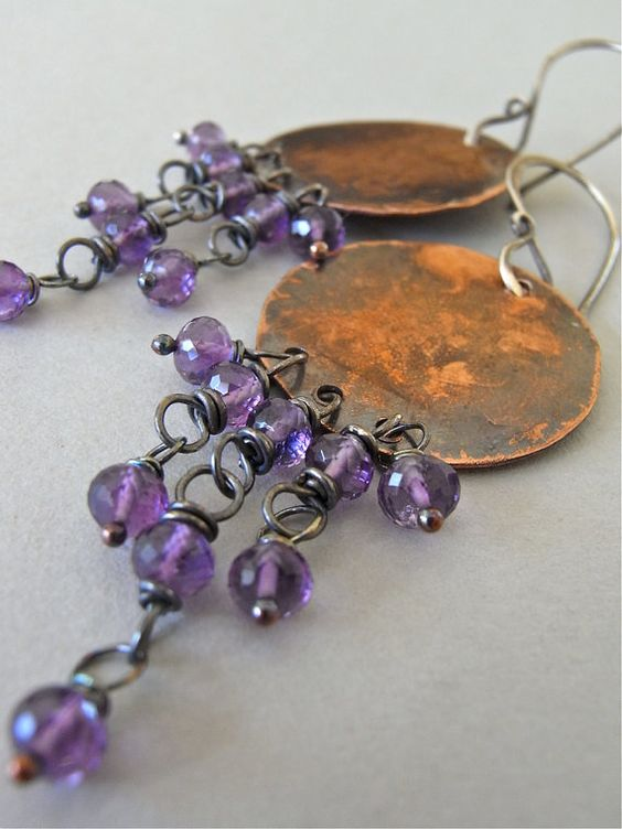 The Neomarica earrings - textured, oxidised and handforged copper and sterling, combined with AAA amethyst gemstones.