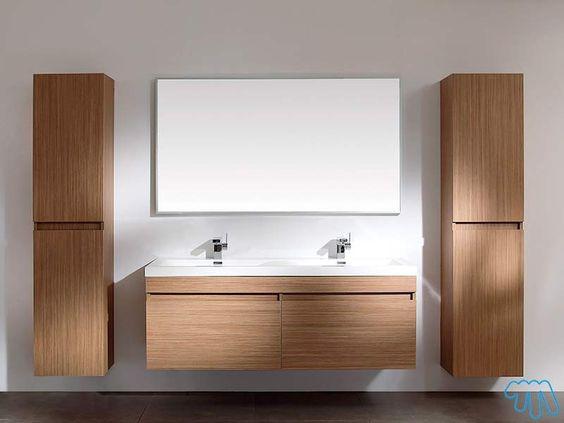 salle de bain teck double vasque miroir colonne x2 lob - Colonne Vasque Salle De Bain