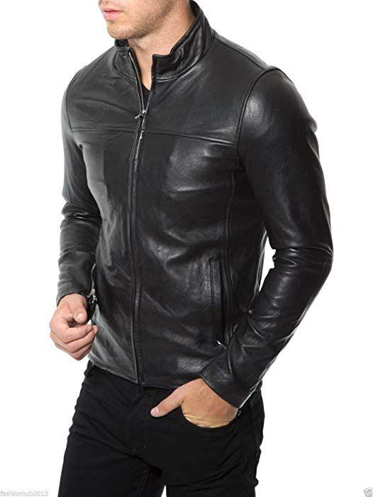 Leather Kraft Mens Lambskin Leather Bomber Biker Black Leather Jacket