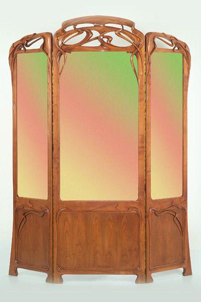 An Art Nouveau birch and silk screen by Yuri Moshans.