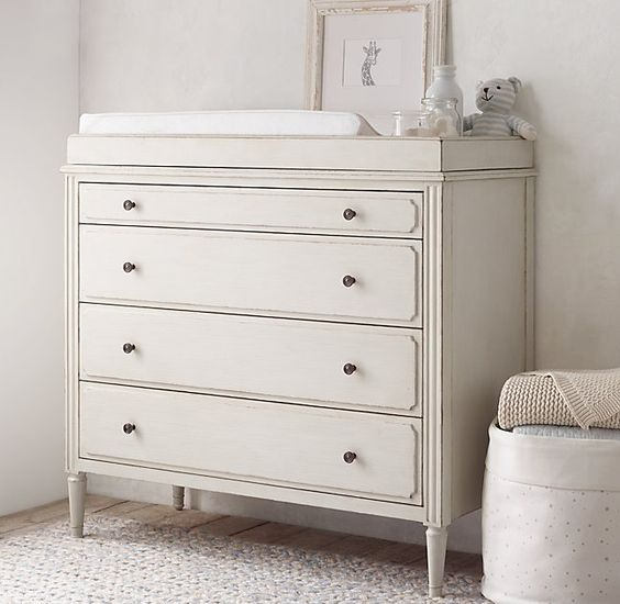 love this RH dresser and diaper changing table. great transitional piece to grow into toddler and tween.