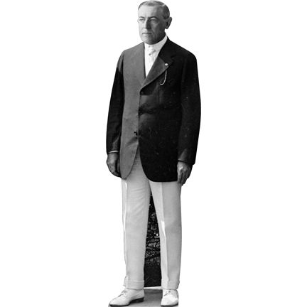 SIZE: 6ft - Cardboard cutout of Woodrow Wilson. Wilson was the 28th US President and the only US President to hold a Ph.D. degree. On his first term, he got the following acts passed; the Federal Reserve Act, the Clayton Antitrust Act, the Federal Trade Commission Act, the Federal Farm Loan Act, and the revenue Act of 1913. moviecutouts.com $49.99